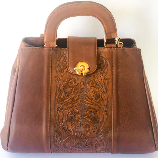 Elegant rose-embossed leather and handcrafted