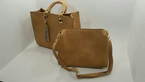 Chula Chic Leather & Acce, Handbag combo in a beautiful honey color.