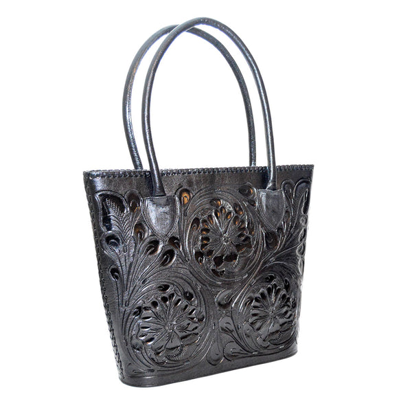 Rose-embossed Genuine Leather Handbag