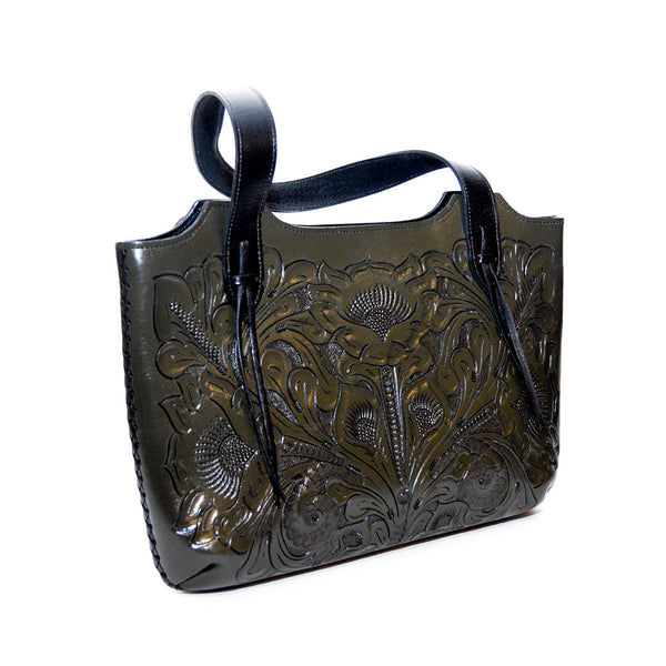 Rose-embossed handbag genuine leather and handcrafted