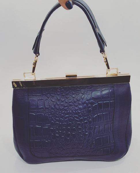 Navy Blue 100% Leather Handbag