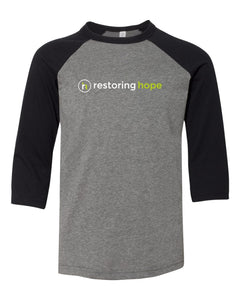 YOUTH 3200Y Baseball 3/4 Sleeve Tee - Restoring Hope