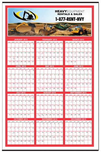 Custom Color Year-at-a-Glance Wall Calendar (27