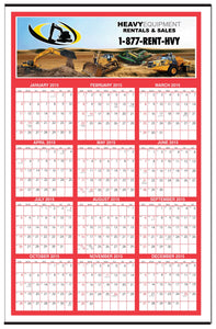 "Custom Color Year-at-a-Glance Wall Calendar (27""x39"")"