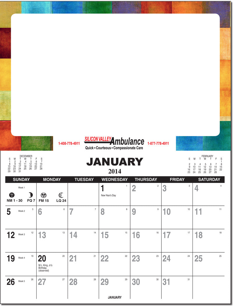 Re-positionable Wall Calendar Write On Write Off Surface and Tear Off Pad