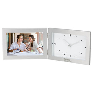 "Aluminum Hinged Photo Frame & Clock (Holds 6""x4"" Photo)"