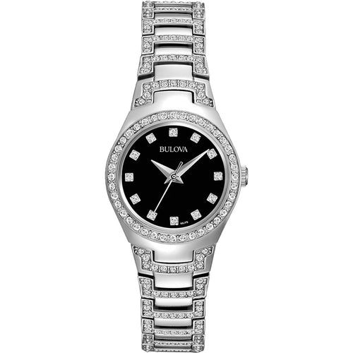 Bulova Women's Crystal Collection Watch w/Black Dial