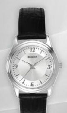 Bulova Corporate Collection Ladies' Stainless Steel Watch w/ Black Leather Strap