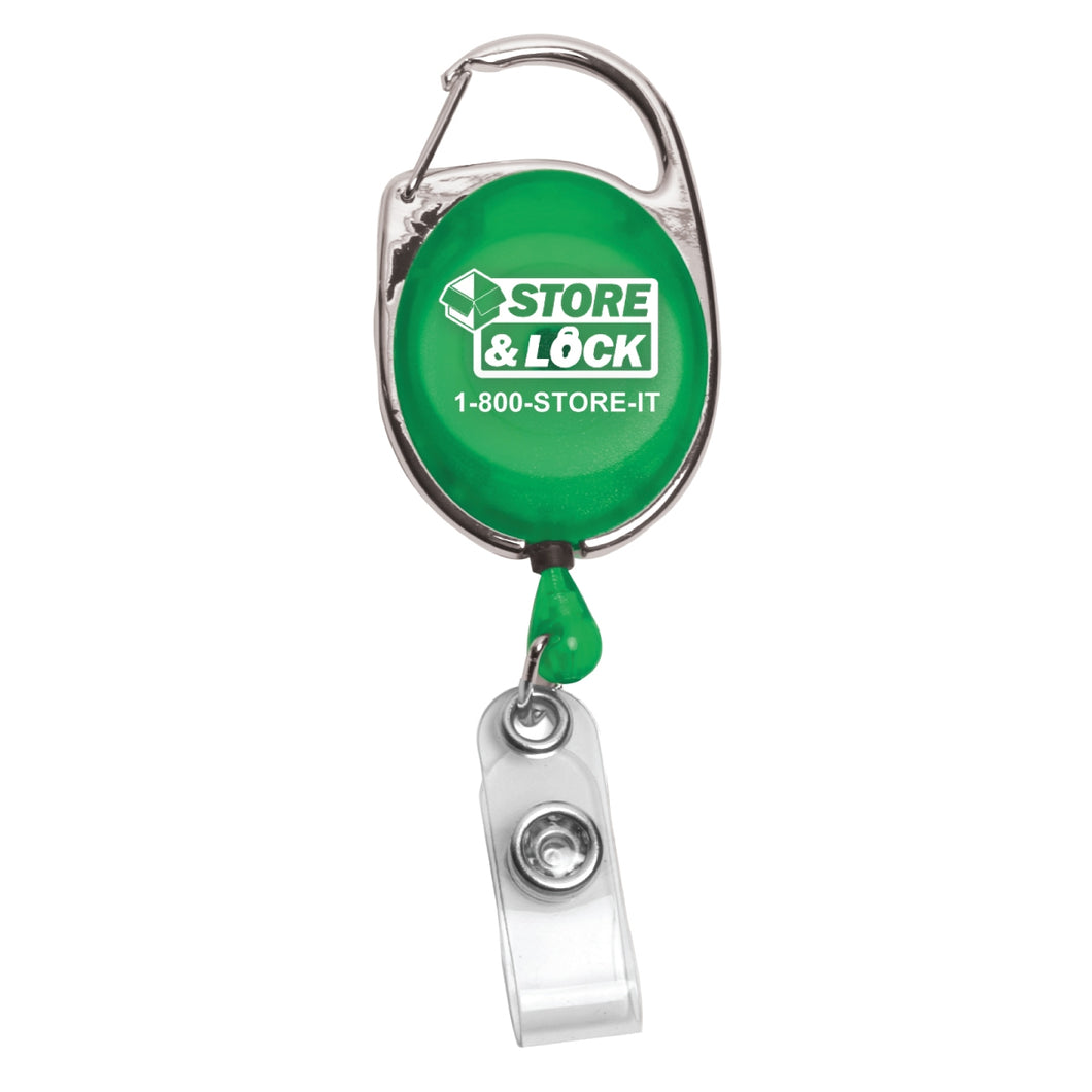 Blank Carabiner Style Retractable Badge Reel w/ Metal Slip Clip Back (Patent# D539, 122)