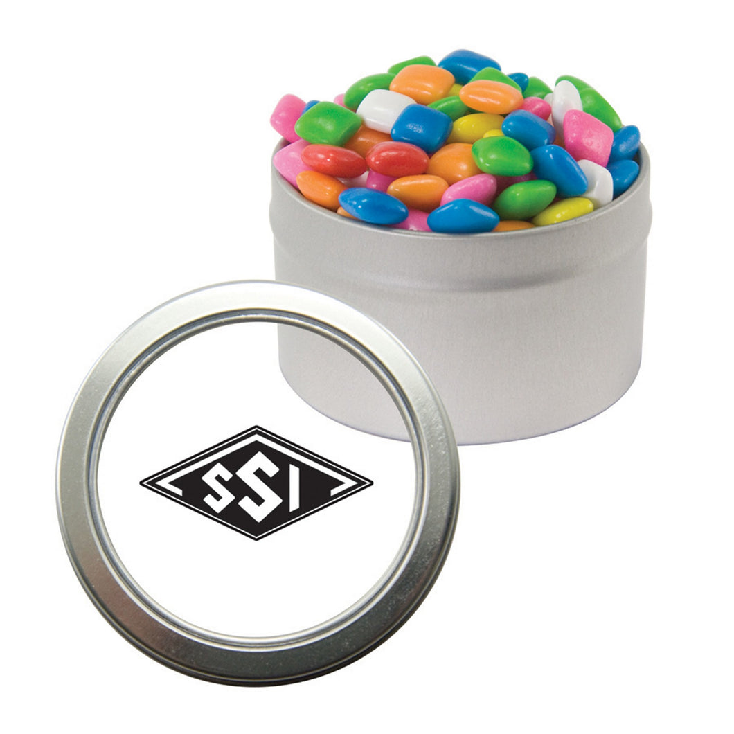 Silver Candy Window Tin with Mints, Candy, Gum, or Chocolate