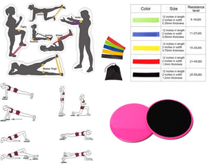 iBank(R) Fitness Resistance Bands Set + Exercise Sliders (Pink)