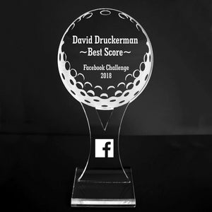 "VALUE LINE! Acrylic Engraved Award - 6"" Golf Ball and Tee - Platform Base"
