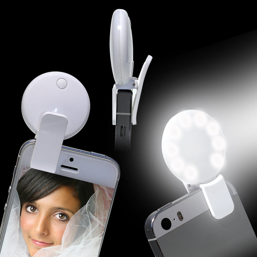 Round 9-LED Photo Selfie Fill In Light for Phone and Tablet Cameras