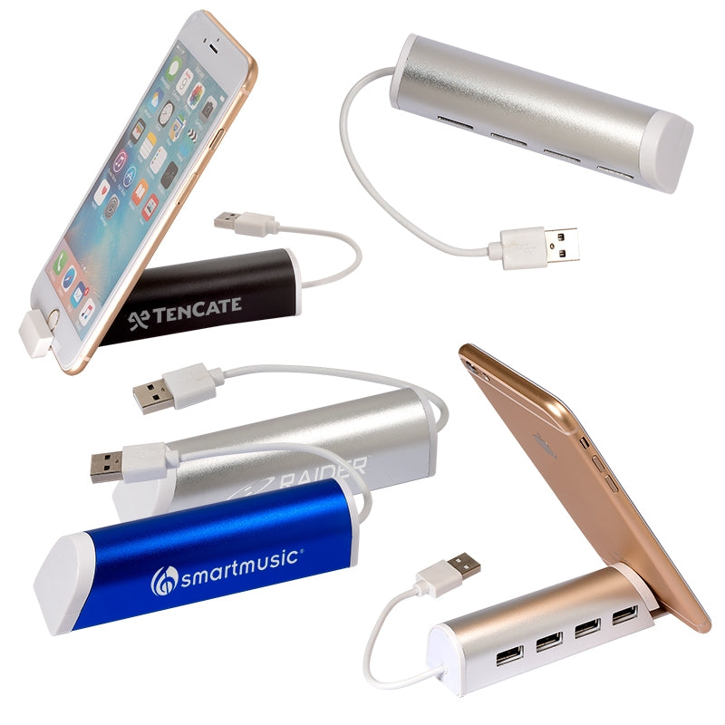 Aluminum 4 Port USB Hub w/Phone Stand