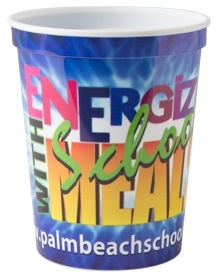 16 oz. Classic Smooth Walled Plastic Stadium Cup with our RealColor360 Imprint