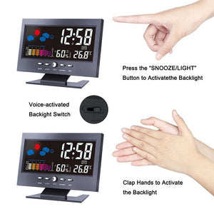 Table Clock With Color Screen Weather Forecast Snooze