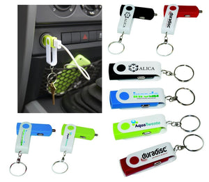 Swivel USB Car Charger Keychain