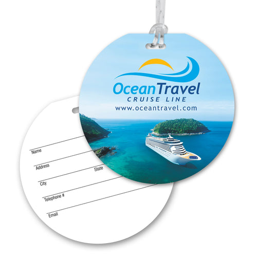 Round Luggage Tag with Clear Strap