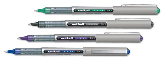 Uni Ball Vision Capped Stainless Steel Tipped Pen WITH BLUE,BLACK,GREEN OR PURPLE INK