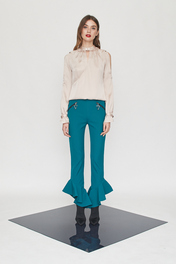 Cropped Ruffle Flares Pants