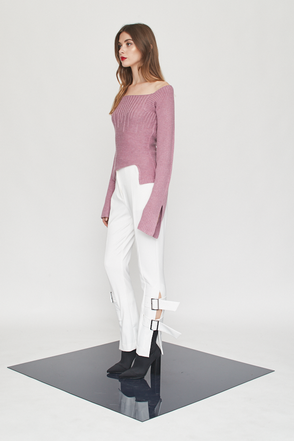 Knitted Trumpet Irregular Ribs Top