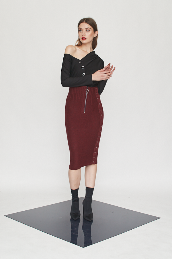 High Waist Irregular Ribs Skirt