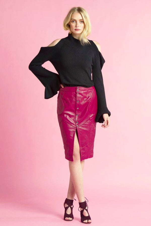 Zigzag Leather Split Skirt
