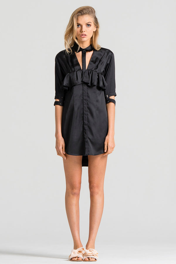 Slinky Shirt Dress Black