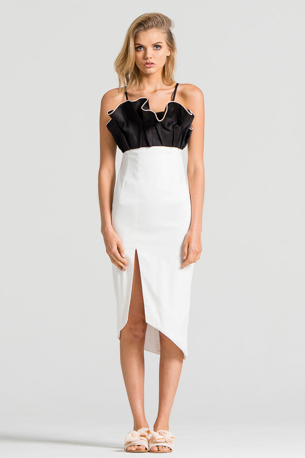 Petal Dress White and Black