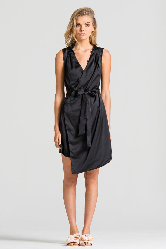 Slinky Wrap Dress Black