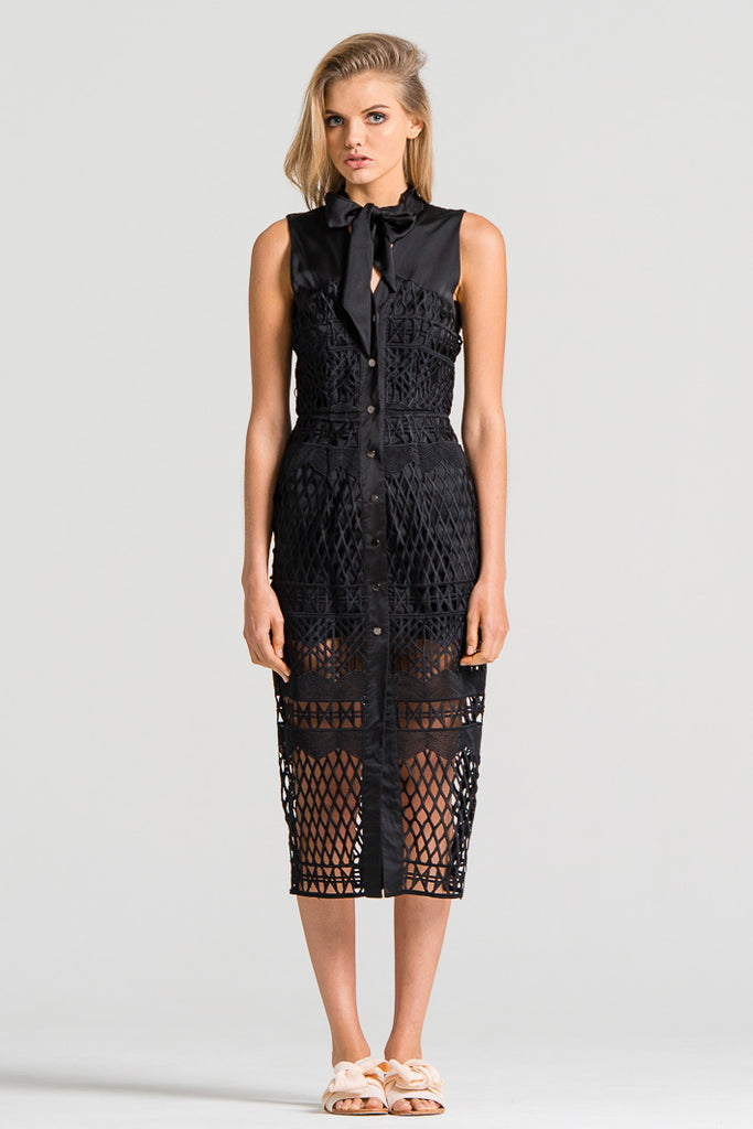 Framed Lace Dress Black