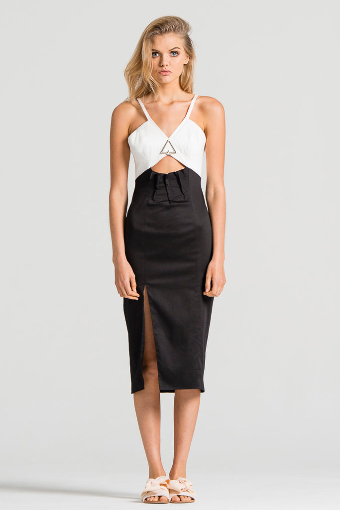 Open Pipeline Dress Black and White