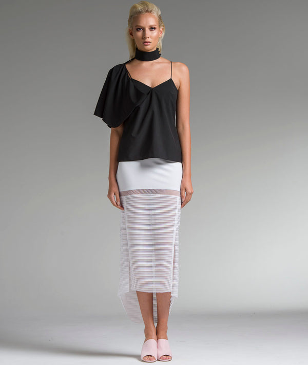 Sheer Paneling Splitted Skirt