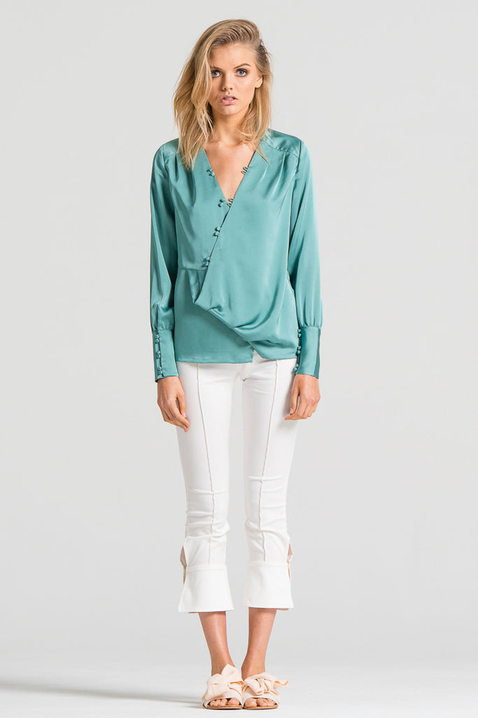 Slinky Empire Blouse Green
