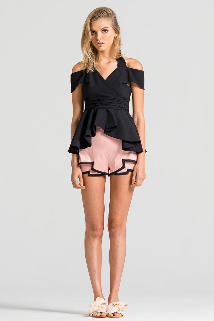 Boarder Bind Shorts Pink and Black