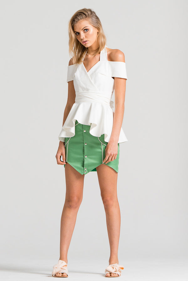 Zigzag Piping Skirt Green