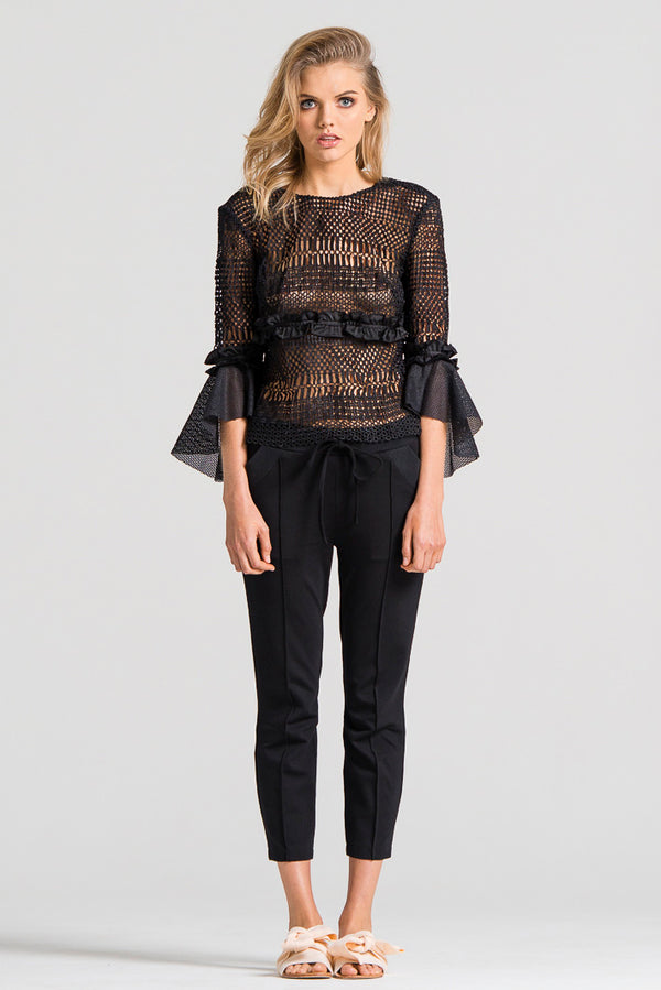 Trumpet Sleeve Lace Top Black