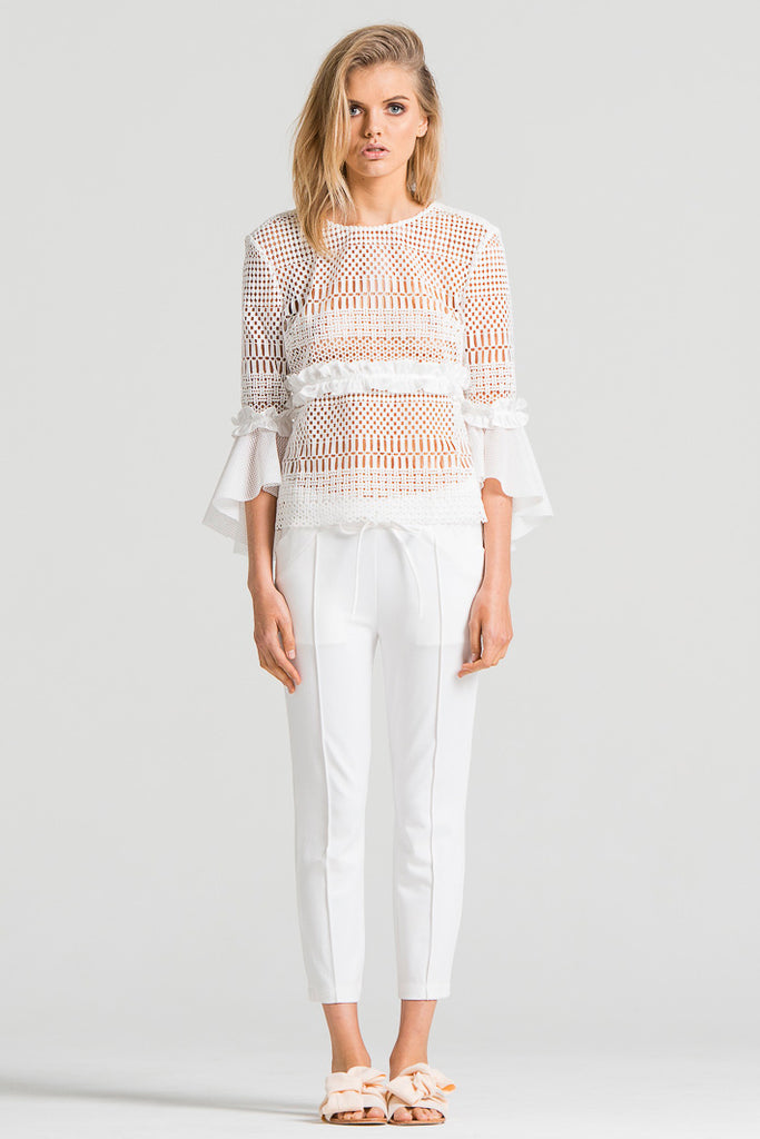 Trumpet Sleeve Lace Top White