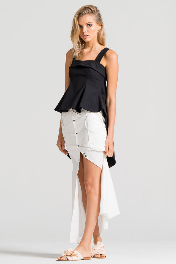 Draped Kite Top Black