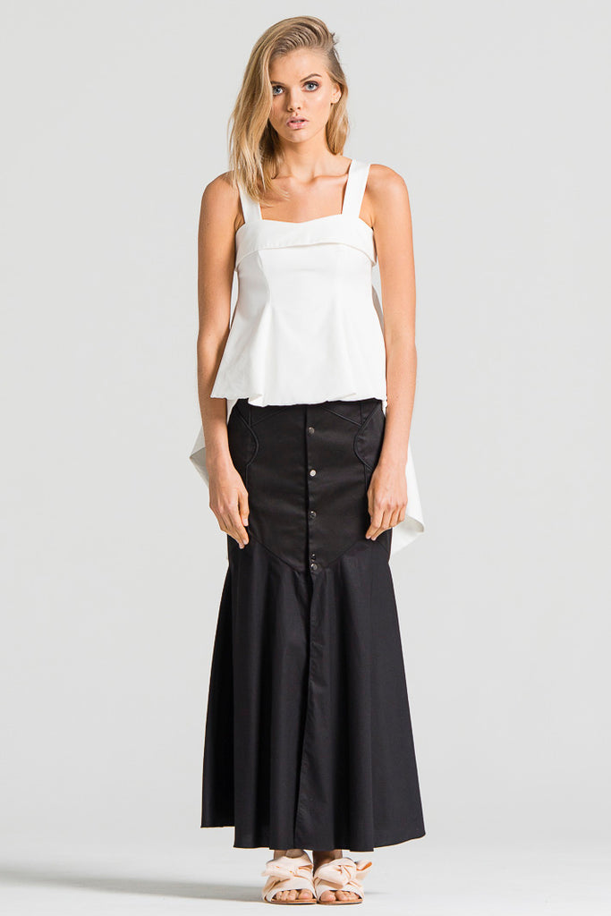 Long Zigzag Skirt Piping Black