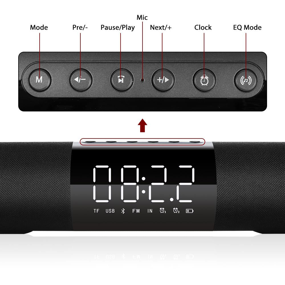 In Home Soundbar Subwoofer 3D Surround Support FM Radio Alarm Clock TF USB