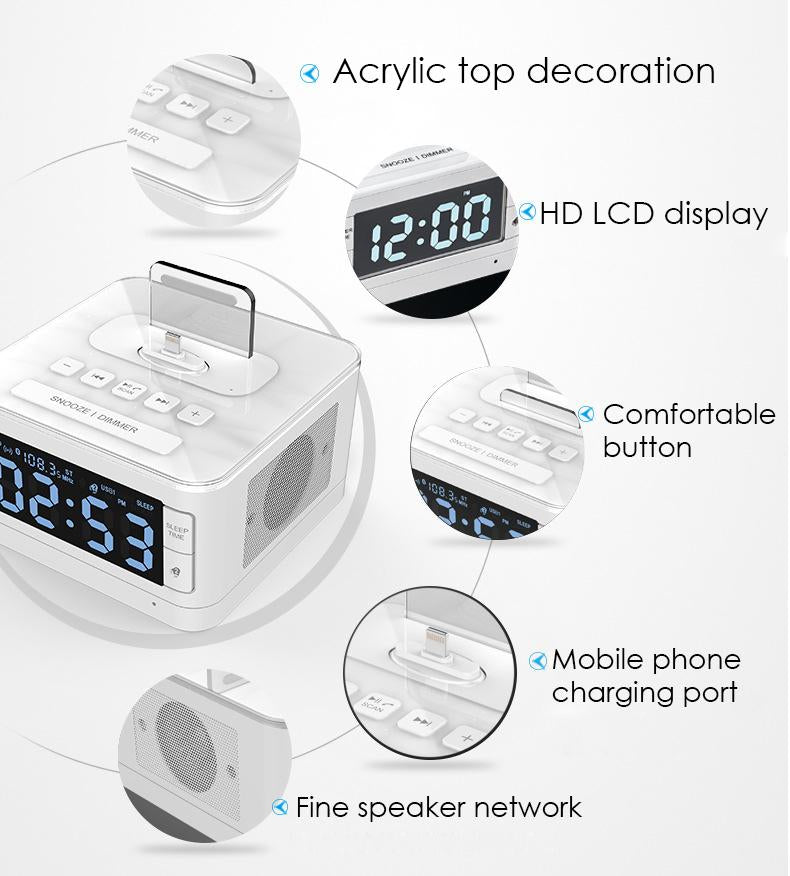 Wireless Bluetooth Speaker 8 Pin Charger Dock Station FM Radio Alarm Clock Audio Music