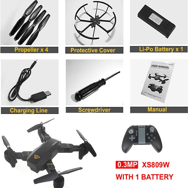 Mini Foldable Drone XS809W XS809HW With Wifi FPV HD Camera Wide Angle Altitude Hold RC Quadcopter Drone FSWB