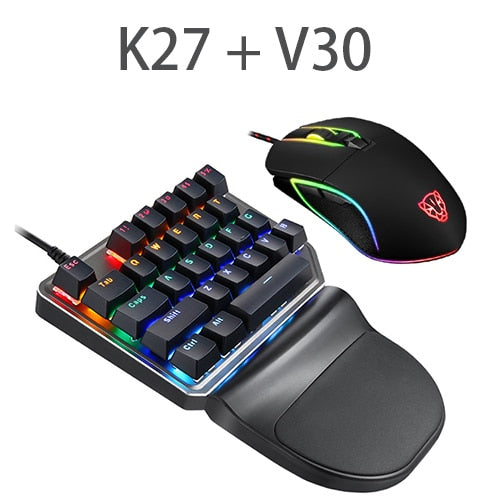 Motospeed K27 V30  Single Hand Mechanical Computer PC PUBG Gaming Keyboard 27 key Wired USB 9 LED Backlit Model Russian sticker