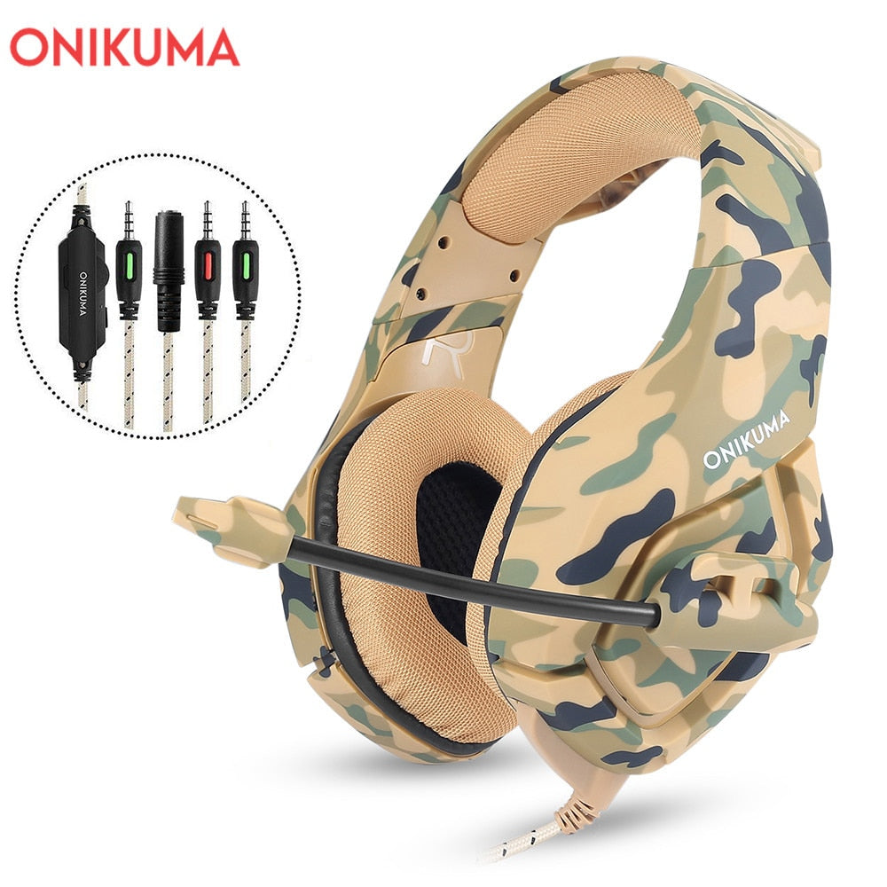 ONIKUMA K1 Camouflage Gaming Headset Dee Bass Game Headphones PS4 Earphones with Mic fro PC Moblie Phone New Xbox Tablet