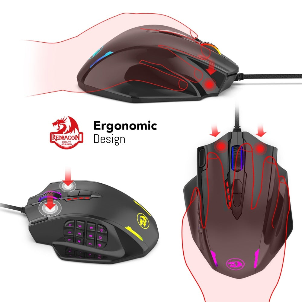 Redragon M908 IMPACT 12400 DPI RGB LED MMO Mouse Laser Wired Gaming Mouse High Precision 18 Programmable Mouse Buttons