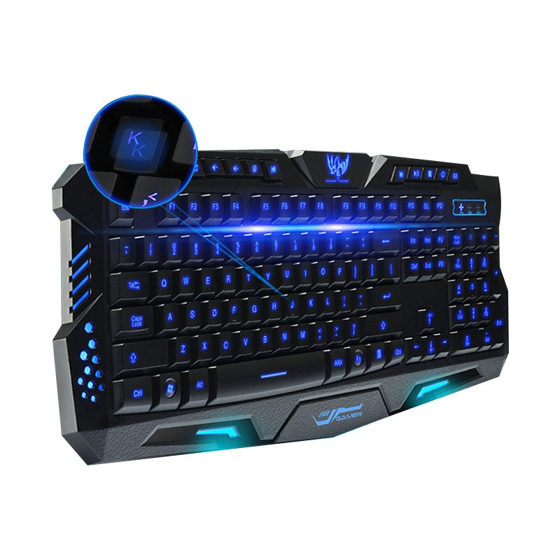 Wired Mechanical Sense Backlit Keyboard Tricolor luminescent Keyboard M200 Internet Cafe Computer Gaming Keyboard