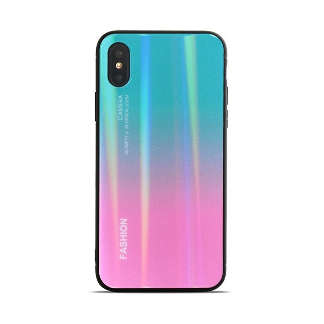 Dir-Maos For iPhone Xs Max Case Xr X 8 Plus 7 Plus 6 6s Change Colors Aurora Fashion Sunglass Laser Light Thin Fit Cover Smart
