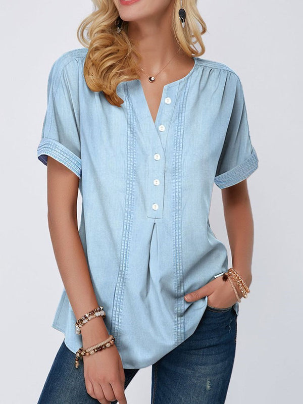 V-Neck Button Short Sleeve Mid-Length Blouse