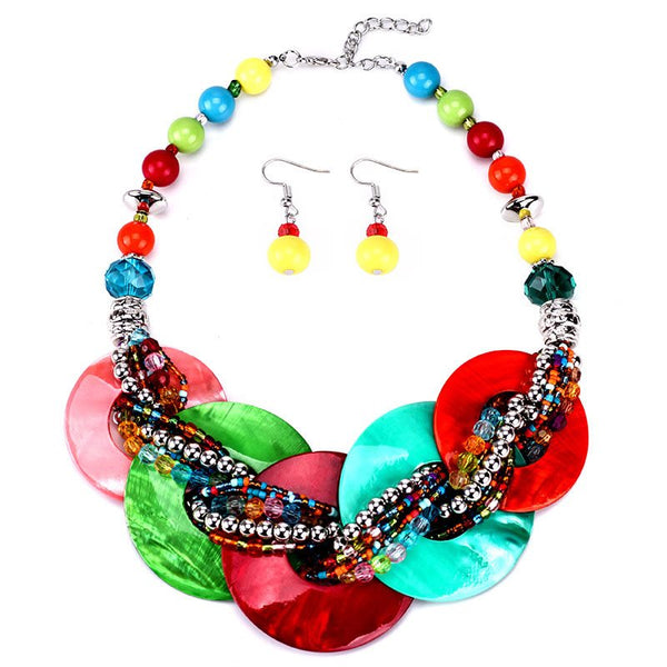 Color Block E-Plating Earrings Holiday Jewelry Sets